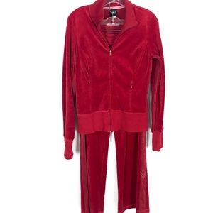 Victoria's Secret Red Velour Track Suit Size M